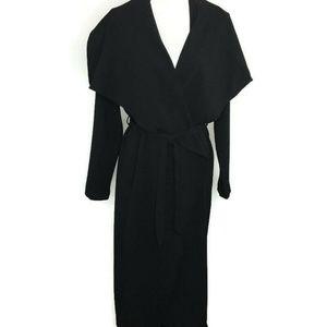 Fashion Nova Business Casual Wrap Coat Sz M Black